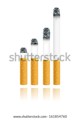 Set of Cigarettes During Different Stages of Burn. - stock vector