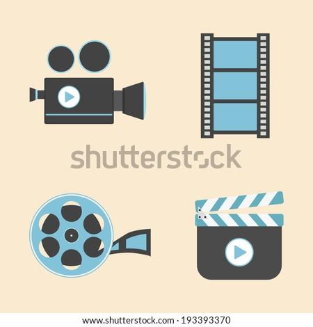 set of cinema equipment icon, flat style - stock vector