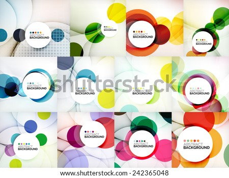 Set of circle abstract backgrounds. Colorful circles modern abstract composition with shadows and text. Geometric background - stock vector