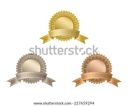 Set of circle awards with ribbons. - stock vector