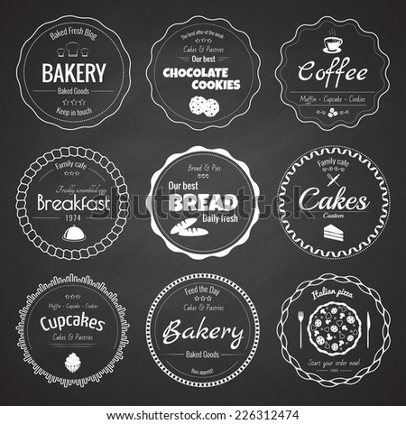 Set of 9 circle bakery labels on the chalkboard background - stock vector