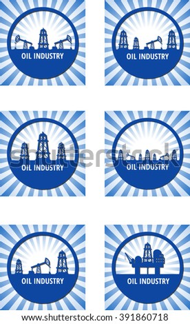 Set of circle emblem of oil industry on a blue rays background. Eps 10 - stock vector