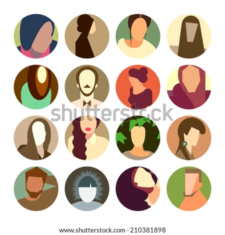 Set of circle icons with colorful avatar faces, flat design style, vector illustration.  - stock vector
