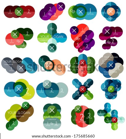 Set of circle infographic templates #2 for business background | numbered banners | business lines | graphic website - stock vector