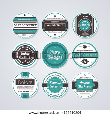Set of 9 circle labels in retro style on white background. - stock vector