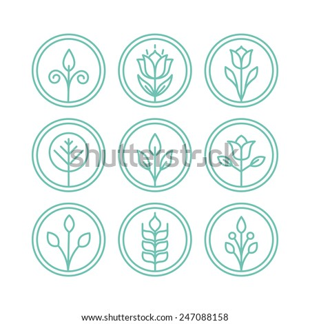 Set of circle nature badges with leaves and flowers - design elements in outline style - stock vector