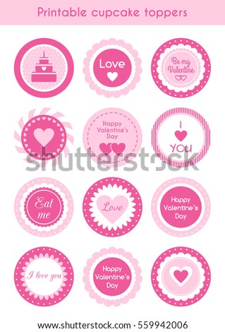 set circle pink printable cupcake toppers stock vector 559942006 shutterstock. Black Bedroom Furniture Sets. Home Design Ideas