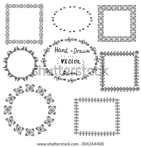 Set of circle polynesian tattoo styled frames on white background - stock vector