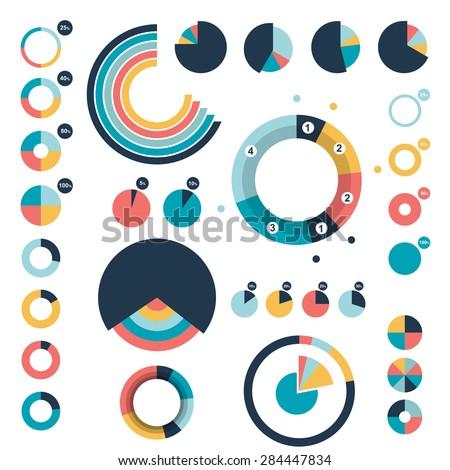 Set of circle, round charts, graphs. - stock vector