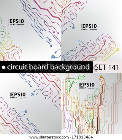 set of circuit board pattern. abstract technology hi-tech circuit board texture