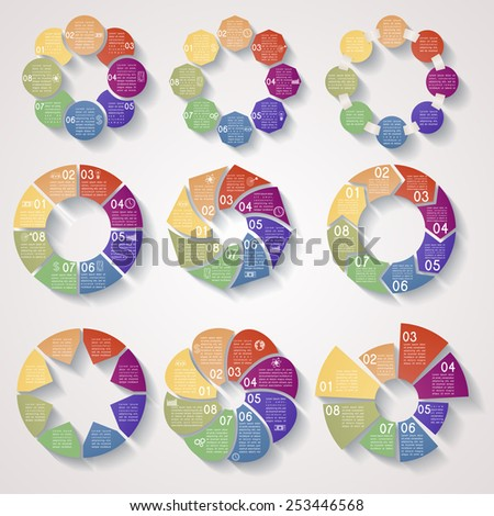 Set of circular business templates, Infographics for presentation, promotion, with eight options, steps. EPS 10  - stock vector