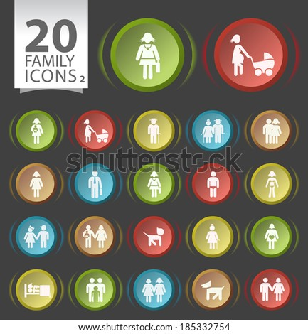 Set of 20 Circular Buttons with Flat Family Icons on Black Background 2. - stock vector