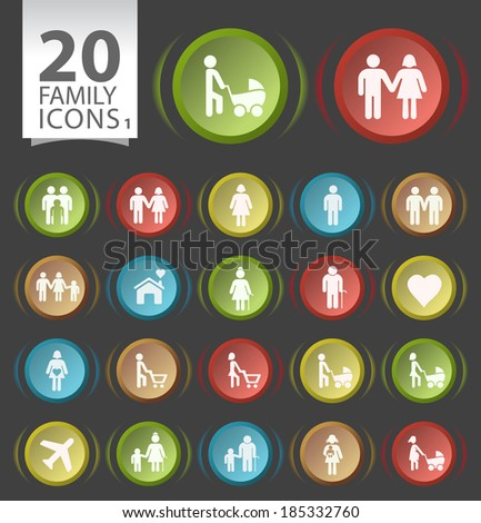 Set of 20 Circular Buttons with Flat Family Icons on Black Background 1. - stock vector
