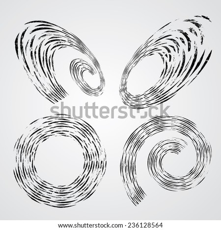 Set of Circular Spirals isolated on White Background. Decorative Elements in Grunge Style. - stock vector