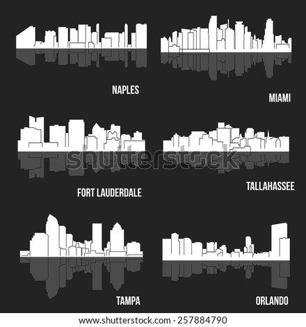 Set of cities in Florida ( Naples, Miami, Fort Lauderdale, Tampa, Orlando, Tallahassee ) - stock vector