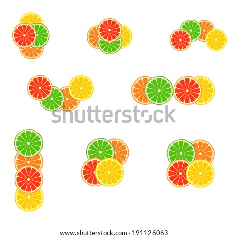Set of citrus emblem variants on white background