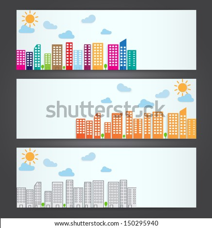 set of city banner. vector illustration - stock vector