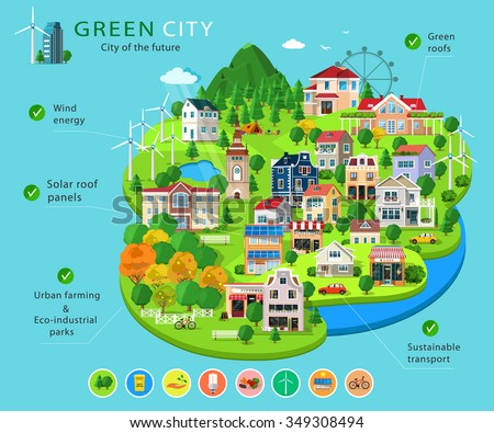Set of city buildings and houses, eco parks, lakes,  farms, wind turbines and solar panels, ecology infographic elements. Essential elements of green city. Flat concept of ways to protect environment - stock vector