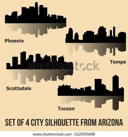 Set of 4 City from Arizona (Phoenix, Scottsdale, Tempe, Tucson) - stock vector