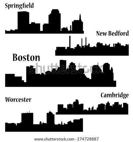 Set of 5 city in Massachusetts ( Boston, Cambridge, Springfield, New Bedford, Worcester )