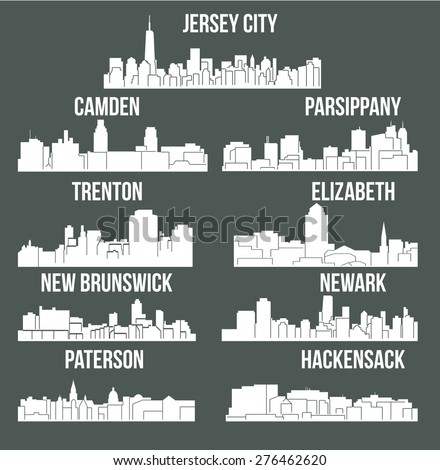 Set of 9 city in New Jersey ( Jersey City, New Brunswick, Newark, Parsippany, Trenton, Paterson, Hackensack, Camden, Elizabeth) - stock vector