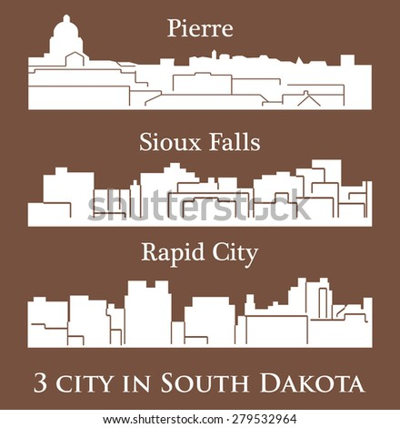 Set of 3 city in South Dakota ( Pierre, Sioux Falls, Rapid City ) - stock vector