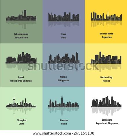 Set of 9 City (Johannesburg, Lima, Buenos Aires, Dubai, Manila, Mexico City, Shanghai, Shenzen, Singapore) - stock vector