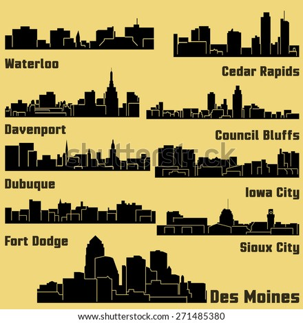 Set of 9 City silhouette in Iowa (Des Moines, Dubuque, Davenport, Cedar Rapids, Iowa City, Sioux City, Waterloo, Fort Dodge, Council Bluffs )