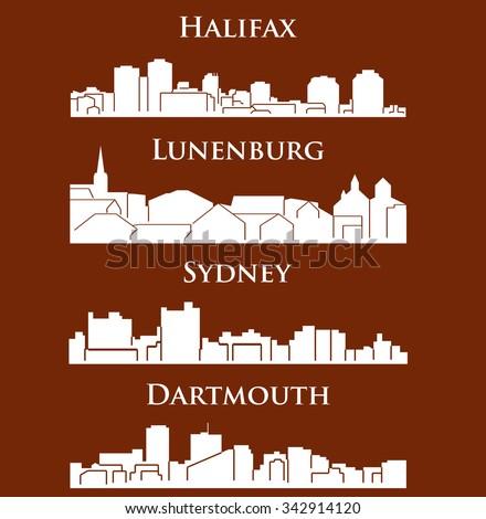 Set of 4 city silhouette in Nova Scotia, Canada ( Halifax, Lunenburg, Sydney, Dartmouth ) - stock vector