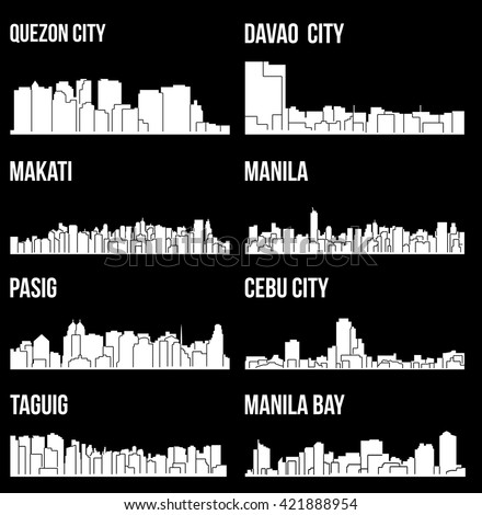 Set of 8 city silhouette in Philippines ( Quezon City, Davao City, Makati, Manila, Pasig, Taguig, Cebu, Manila Bay )