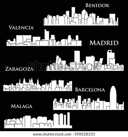 Set of 6 city silhouette in Spain ( Madrid, Zaragoza, Barcelona, Valencia, Malaga, Benidor )