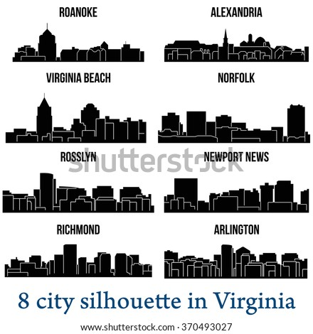 Set of 8 city silhouette in Virginia ( Richmond, Norfolk, Arlington, Virginia Beach, Rosslyn, Alexandria, Newport News, Roanoke )