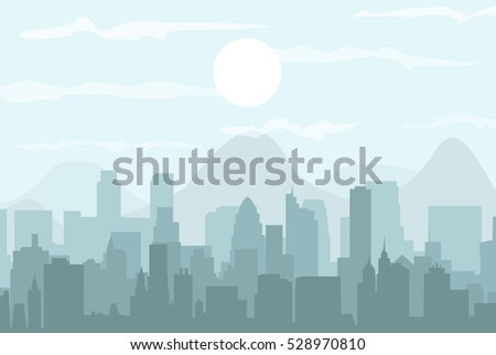 Set of cityscape background.  Buildings silhouette cityscape with mountains. Modern architecture. Urban landscape. Horizontal banner with megapolis panorama. Building icon. Vector illustration