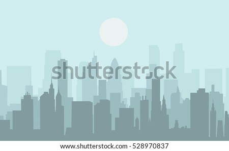 Set of cityscape background. Skyline silhouettes. Modern architecture. Urban landscape. Horizontal banner with megapolis panorama. Building icon. Vector illustration