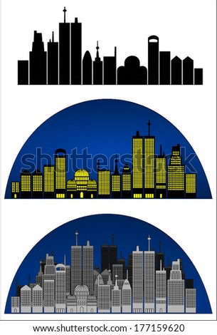 Set of cityscape in three versions, blue and yellow lights, grayscale and black silhouette building design. Night city skyline. Vector art image illustration isolated on white background, eps10