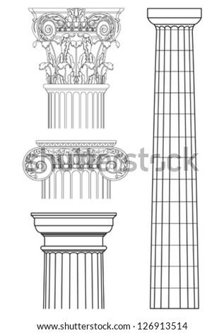 set of classic columns,vector drawing - stock vector
