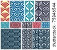 Set of classic geometric seamless patterns. Traditional vector backgrounds collection. - stock vector