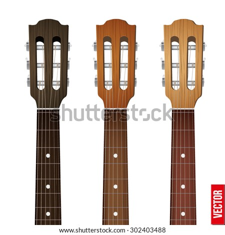 Set of Classic Guitars neck fretboard and headstock. Vector Illustration isolated on white background.