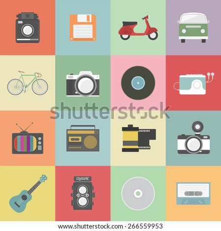 set of classic icon, hipster gadget, vecter illustration
