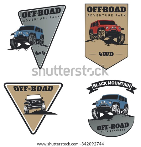 Set of classic off-road suv car emblems, badges and icons. Rock crawler car, off-road suv adventure and car club design elements. Isolated suv front and side view. - stock vector