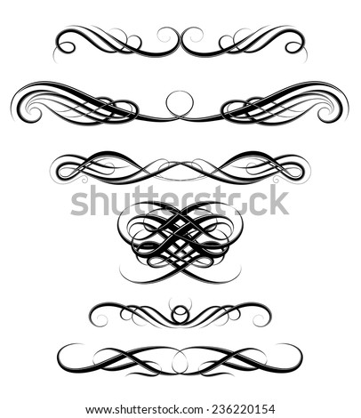 Set of classic page borders with vintage calligraphy ornaments - stock vector