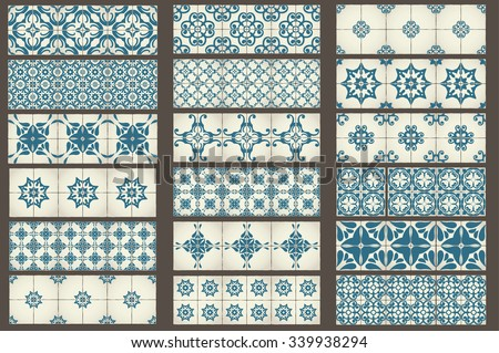 Set of 18 Classic seamless Templates of Moroccan tiles, ornaments for kitchen, blue STYLE - stock vector