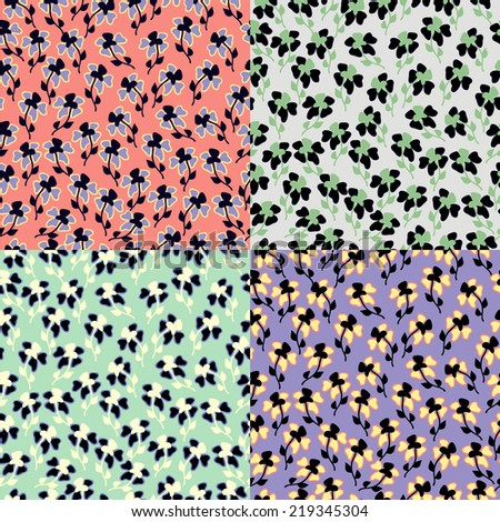 Set of classical ditsy floral seamless pattern.Vector background. - stock vector