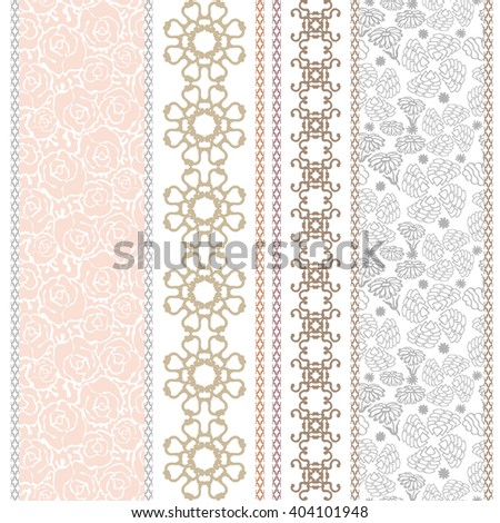Set of classical lace borders with bohemian motifs. Hand drawn seamless floral pattern, baroque ornaments, English roses. Vintage textile collection. Golden, silver shadows on white.   - stock vector