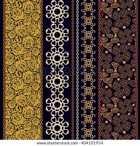 Set of classical lace borders with bohemian motifs. Hand drawn seamless floral pattern, baroque ornaments, English roses. Vintage textile collection. Golden, silver shadows on black.   - stock vector