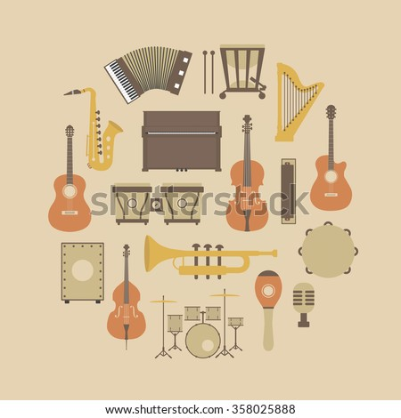 set of classical music instrument icon, retro style