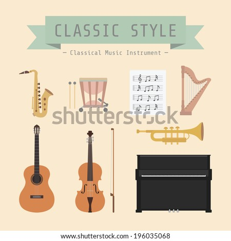 set of classical musical instrument and sign, flat style - stock vector