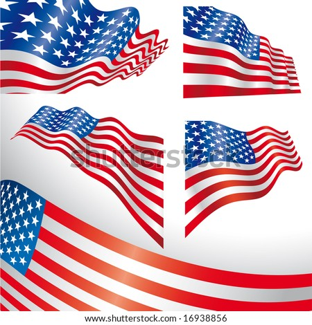 Set of classics USA flags distorted by the wind. - stock vector
