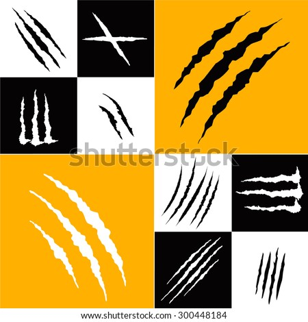 Set of claw scratches, isolated vector illustration - stock vector