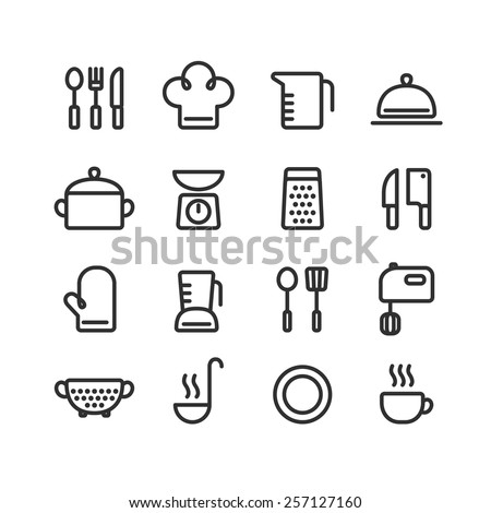 Set of clean line icons featuring various kitchen utensils and cooking related objects. - stock vector